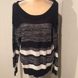 Mine Soft Knit Navy Striped Sweater, NWT, Medium
